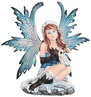 StealStreet SS-G-91863, Winter Blue Winged Fairy with Snow Owl Pet Decorative Figurine