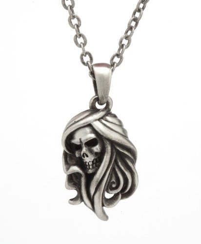 Lead-free pewter Necklace - Reaper Skull