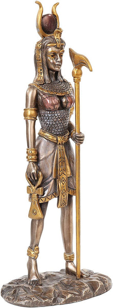 12.75 Inch Egyptian Hathor Mythological Bronze Finish Statue Figurine