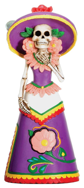 Dod Purple Senorita Mexican Traditional Skeleton Sculpture