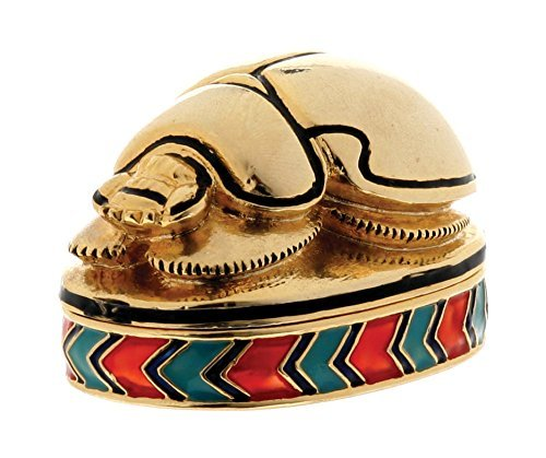 YTC Scarab Jeweled Box - Collectible Egyptian Decoration Jewelry Container