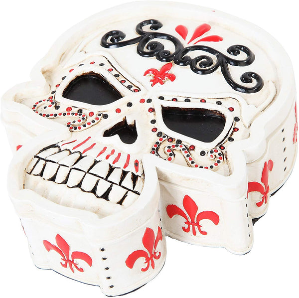 5.5 Inch White Day of The Dead Skull Jewelry/Trinket Box Figurine