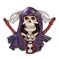 Grim Reaper Skull Figurine Wall Plaque Made of Polyresin