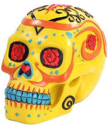 6 Inch Yellow with Rose Pattern Day of The Dead Skull Statue Figurine