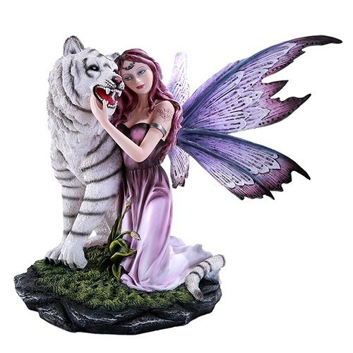 Pacific Giftware Large Gentle Fairy with Beautiful Wings Embracing White Tiger Collectible 14 Inch Figurine