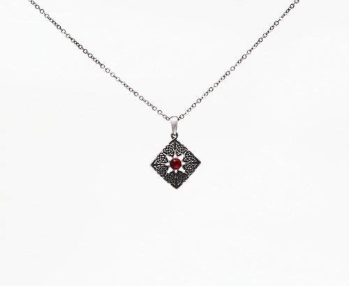 Mystica Collection Jewelry Necklace - Square with Red Gem