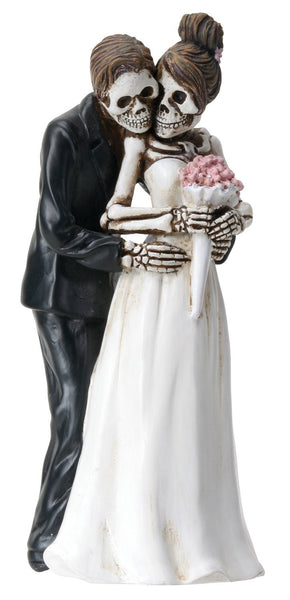 YTC 6.25 Inch Skeleton Couple with Wedding Bouquet - Posing Figurine