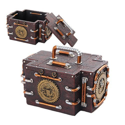 PTC Steampunk Inspired Mechanical Gauge Box with Lid Statue Figurine