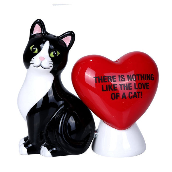 Pacific Giftware Nothing Like The Love of A Cat Ceramic Magnetic Salt and Pepper Shaker Set