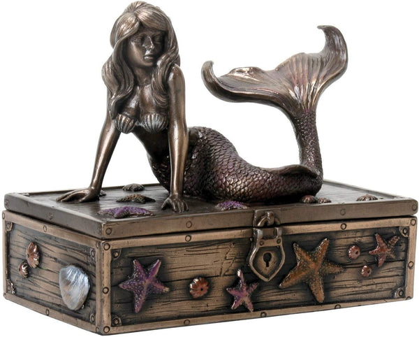 SUMMIT COLLECTION Art Nouveau Bronze Metal Colored Mermaid on Treasure Chest Knick-Knack Box