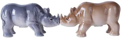 Pacific Giftware 4.75 inches Porcelain Animal Kingdom Rhinos Magnetic Salt and Pepper Shaker Kitchen Set