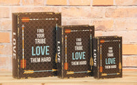 Find Your Tribe Love Them Hard Decorative Book Boxes Diversion Safe Set of 3