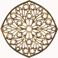 Copper Colored Tours Cathedral Rose Window Ornament, Decoration
