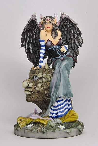 Gothic Feather Winged Fairy Sitting in Goblin Tree Statue Figurine