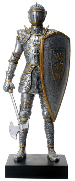 "YTC 12"" Silver Tone Royal Knight with Gold Tone Details Statue Display"