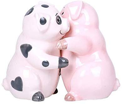 Hugging Pigs Magnetic Ceramic Salt and Pepper Shakers Set