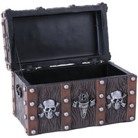 Handpainted Resin Weathered Metal/Wood-Look Mini Pirate Skull Treasure Chest