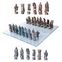King Arthur British Leader Medieval Chess Set With Glass Board