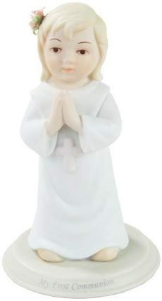 "Pacific Giftware First Communion Toddler Girl Praying Statue Fine Porcelain Figurine, 5.25"" H"