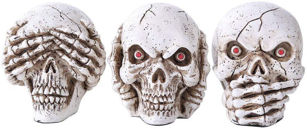 See hear speak no evil Skulls set of 3 figurines