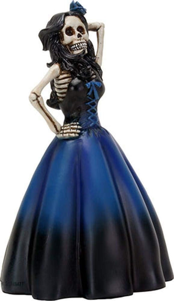YTC 6 Inch Long Black Haired, Blue Skeleton Lady in a Dress Posing