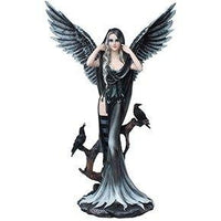 Raven Fey Dark Angel with Raven Wings Statue Gothic Fantasy Collectible 24 Inch