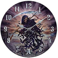Tithe To Hell Skeleton Decor Wall Clock Round Plate Diameter 13.5""