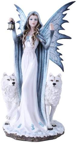 "Large 18"" Winter Fairy Queen With Wolves Elsa Statue Fairyland Legends Collection Night Lantern"