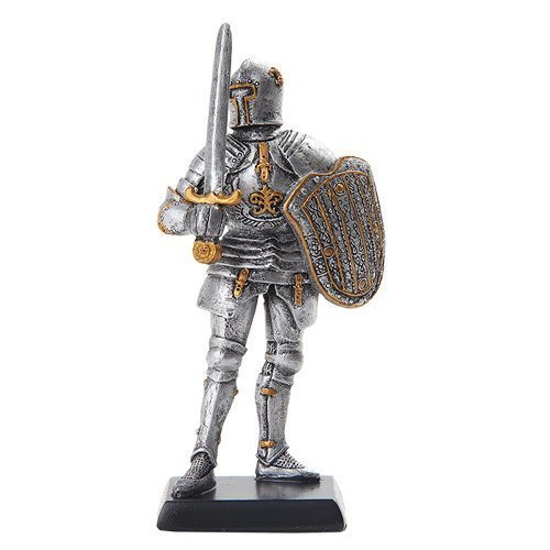 PTC 5 Inch Armored Medieval Knight with Shield and Sword Statue Figurine