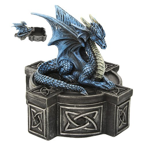 Pacific Giftware Anne Stokes Altar Drake Frost Blue Mystic Dragon Statue...