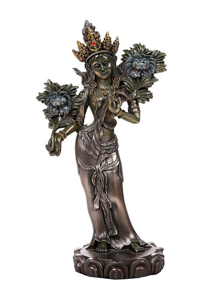 Pacific Giftware Green Tara Buddhist Figurine Syamatara Bodhisattva Jetsun Dolma Figurine 8 inch Tall Cast Bronze Finish