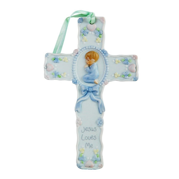 Pacific Giftware Jesus Loves Me Little Boy Prayer Cross Porcelain Bisque Finish Figurine, 5.5'' W