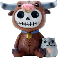 SUMMIT COLLECTION Furrybones Torro Signature Skeleton in Bull Costume with Small Doggy