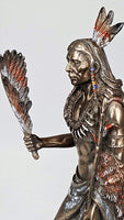 Pacific Giftware Indian Chief Holding Ceremonial Pipe Collectible Figurine 9 Inch Tall