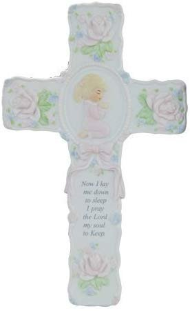 "Pacific Giftware Porcelain Bisque Praying Girl Wall Cross with Childs Prayer Statue 8.5"" W"