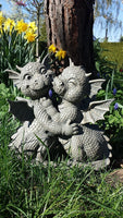 Garden Dragon Loving Couple Garden Display Decorative Accent Sculpture Stone...
