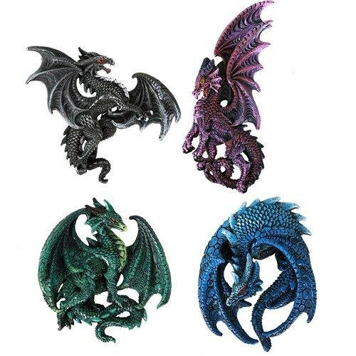RUTH THOMPSON Dragon's Lair Set of 4 Collectible Sculptural Dragons Refrigerator Magnets Gift Decor