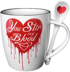 Gothic You Stir My Blood Heart Cup Spoon Set Gift Mug Alchemy of England