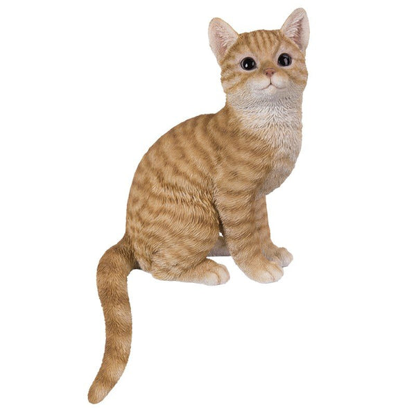 "PACIFIC GIFTWARE 15"" Realistic Orange Tabby Cat Glass Eyes Statue Home Decor"