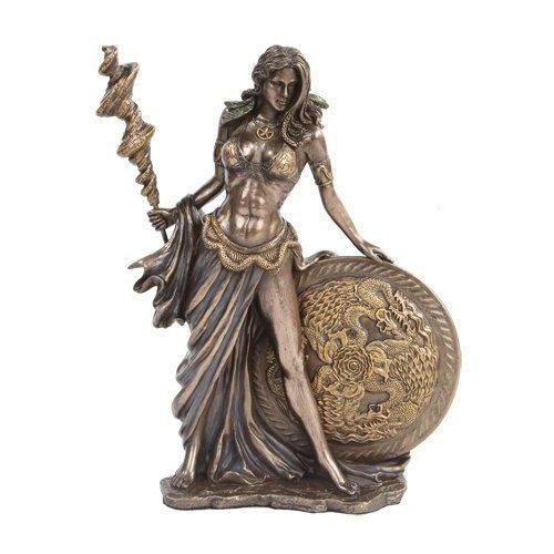 9.5 Inch Bronze Colored Frigga Figurine with Staph and Round Shield