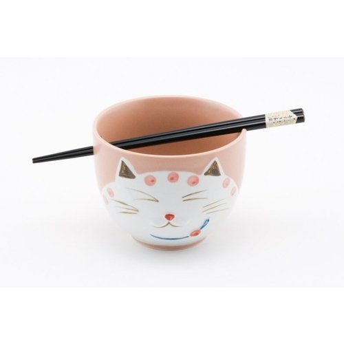 BOTEGA EXCLUSIVE 5 Inches Cat Kitty Pink Ramen Noodle Bowl with Chopstickers Gift Set