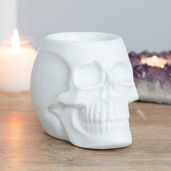 Pacific Giftware White Skull Aromatherapy Oil Burner Wax Warmer Tealight Holder