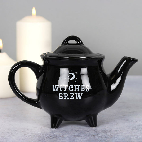 ALCHEMY ENGLAND DESIGN Witches Brew Black Ceramic Tea Pot