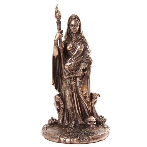 PACIFIC GIFTWARE Greek Goddess Hecate Sculpture Athenian Patroness of Crossroads, Witchcraft, Dogs and Patina Statue