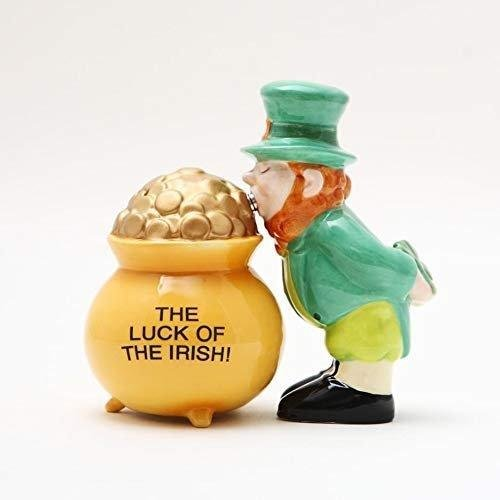 PACIFIC GIFTWARE Luck of The Irish Pot of Gold Magnetic Salt & Pepper Shakers