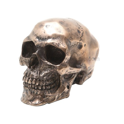 PACIFIC GIFTWARE Small Bronze Finish Skeleton Skull Statue Figurine 3.25 Inch