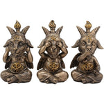 BOTEGA EXCLUSIVE Baphomet Sitting See Hear Speak No Evil Sabbatic Goat Horned Head Figurine