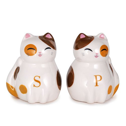 JAPAN COLLECTION Genki Cat Calico Tayo Salt and Pepper Shakers Ceramic Dispenser