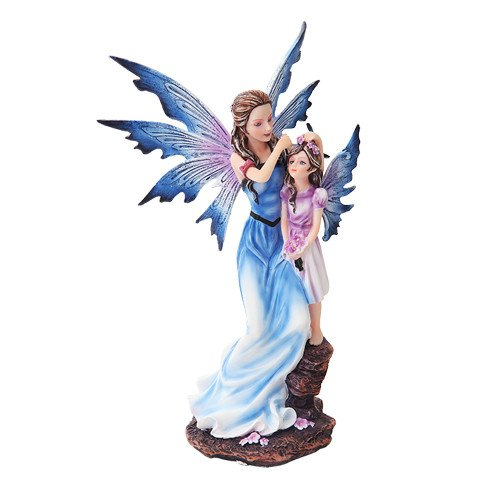 PACIFIC GIFTWARE Mother and Young Girl Blue Winged Fairy Statue Figurine