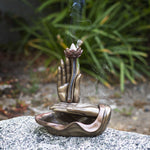 PACIFIC GIFTWARE Eastern Prayer Hands Backflow Incense Burner Resin Figurine Home Decor